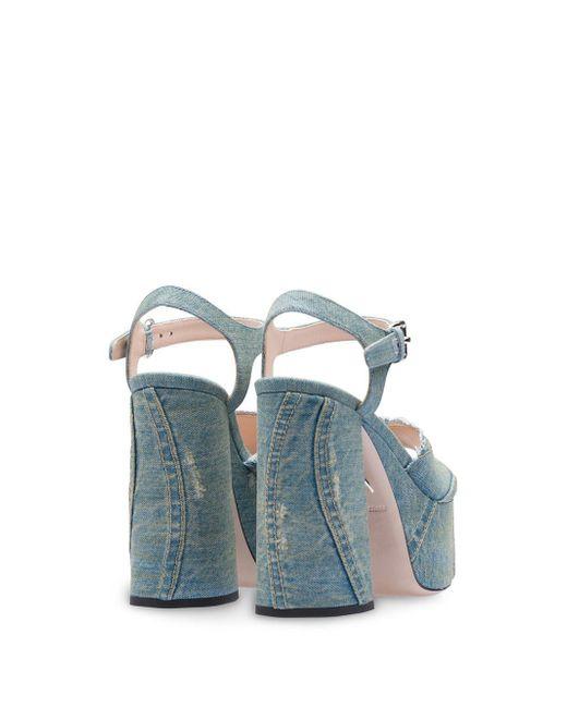 d4f0e2093e9 ... Miu Miu - Blue Denim Platform Sandals - Lyst ...