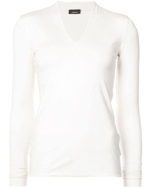 Akris - White Skinny V Neck Top - Lyst