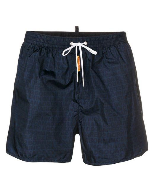 fa22cbbc89 DSquared² - Blue Logo Printed Swim Shorts for Men - Lyst ...