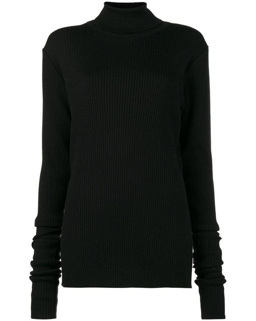 Y. Project | Black Rolled Ribbed Jumper | Lyst