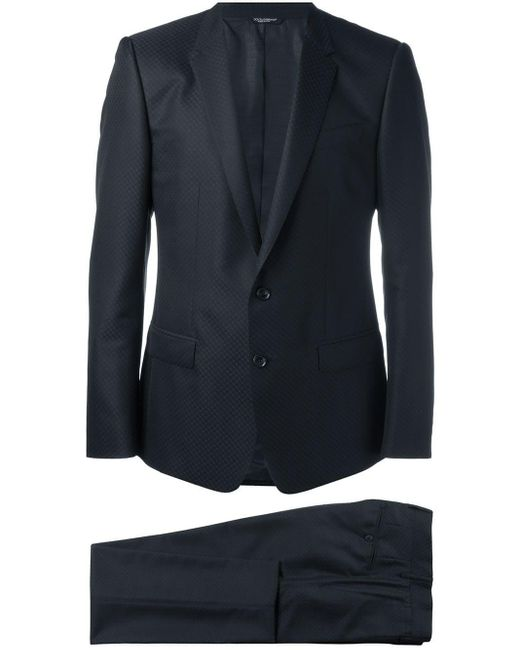 Dolce & Gabbana Blue Patterned Suit for men