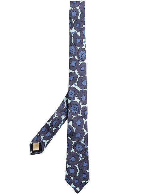 Burberry - Blue Abstract Floral Print Tie for Men - Lyst