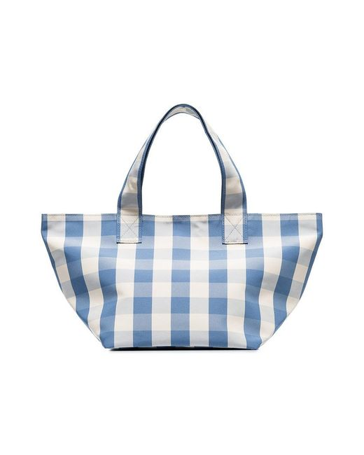 Trademark - Blue And White Gingham Grocery Small Tote Bag - Lyst