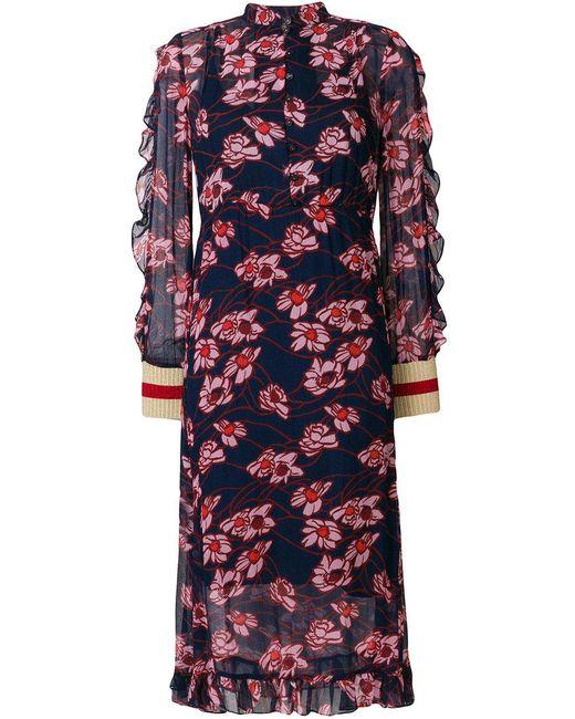 Baum und Pferdgarten - Blue Ruffled Floral Dress - Lyst