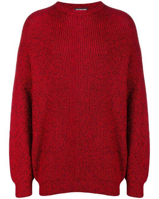 Oversize Balenciaga Coloris En Rouge Lyst Nervuré Homme Pour Pull 1wqC7