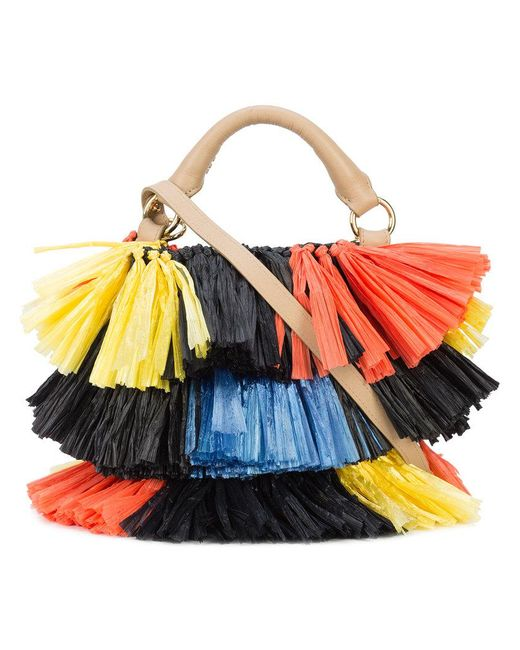 Diane von Furstenberg - Multicolor Raffia Fringe Bucket Bag - Lyst