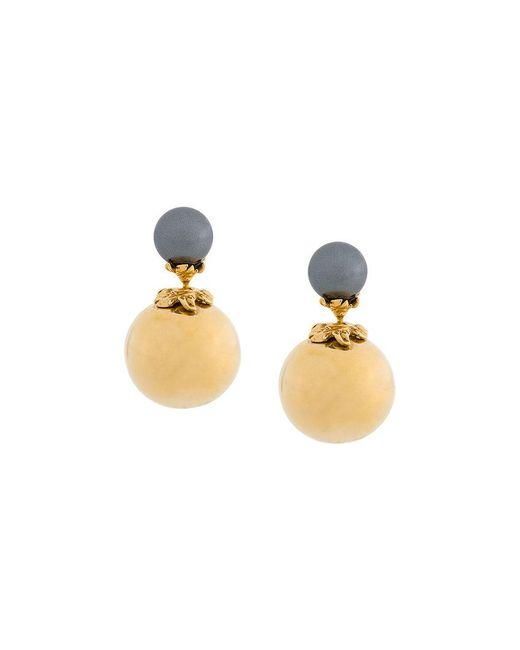 Kasun - Metallic Orb And Pearl Stud Earrings - Lyst