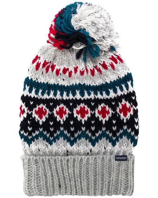 Woolrich - Gray Intarsia Bobble Hat for Men - Lyst