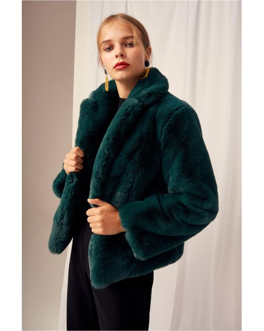 Keepsake - Green Stay With Me Fur Coat - Lyst