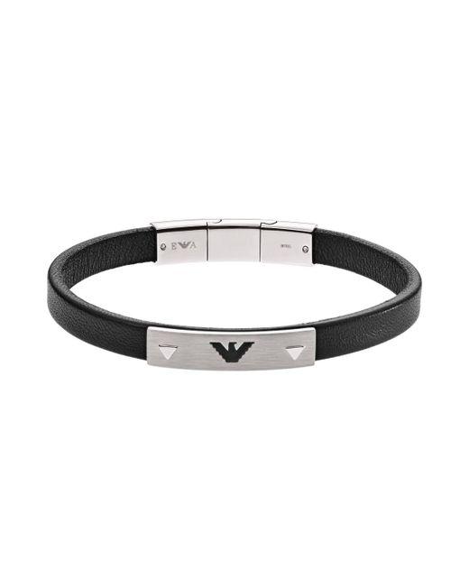 Emporio Armani - Multicolor Leather Logo Bracelet Silber - Lyst