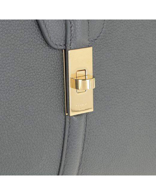 f57e89752900 ... Céline - Gray 16 Bag Medium Grained Calfskin Medium Grey - Lyst ...