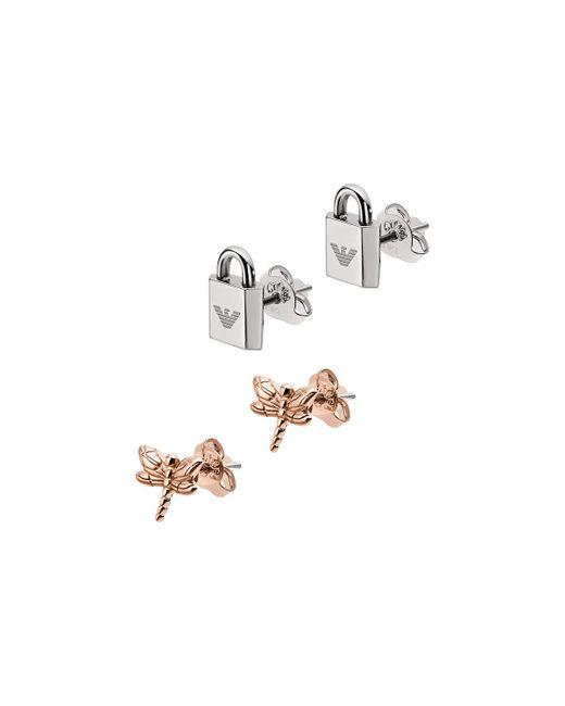 Emporio Armani - Metallic Egs2576221 Earring Roségold/silver - Lyst