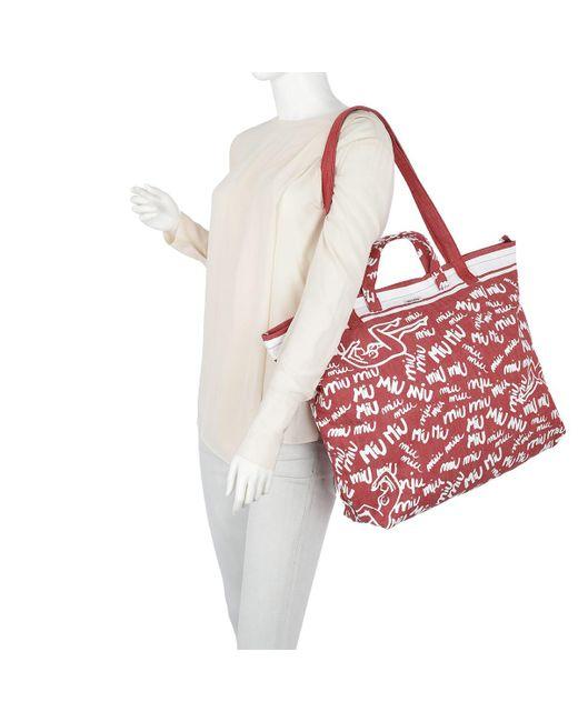 ... Miu Miu - Red Scribble Print Canvas Tote Rosso bianco - Lyst ... febd3618e3