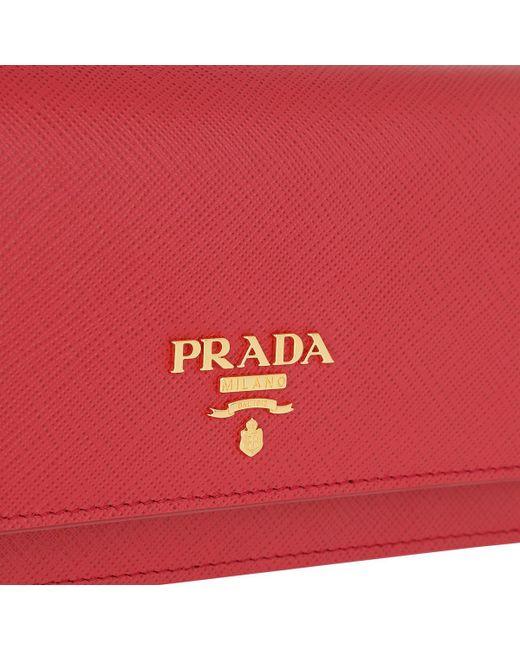 a246ada620e5 ... Prada - Red Wallet On Chain Saffiano Leather Fuoco - Lyst ...