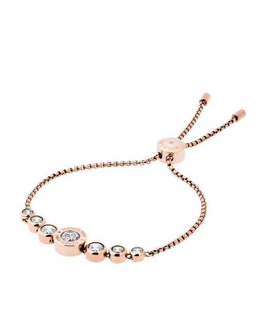 Michael Kors | Metallic Cubic Zirconia Rosegold-tone Slider Bracelet | Lyst