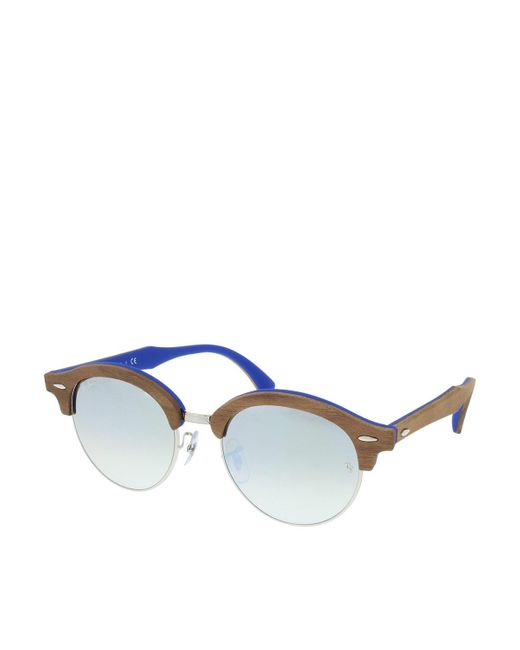 Ray-Ban | Brown Clubmaster Round Wood Rb 0rb4246m 51 12179u | Lyst