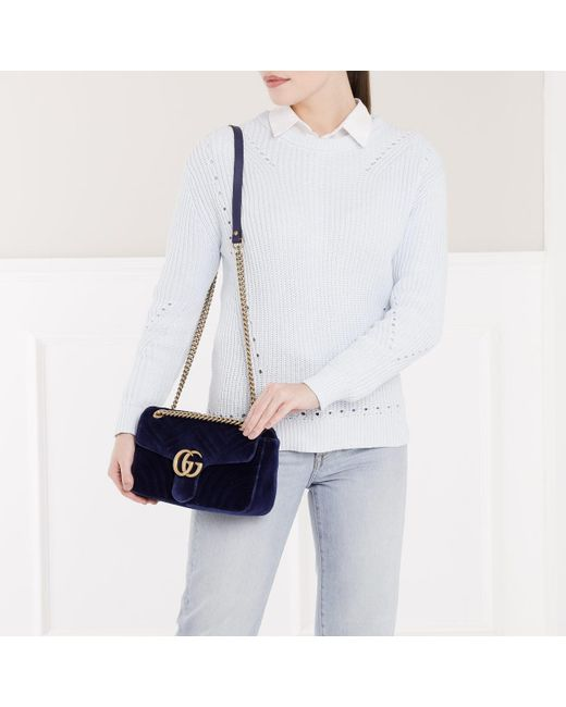 b275c5562025ef Gucci GG Marmont Medium Quilted Shoulder Bag in Blue - Save 20% - Lyst