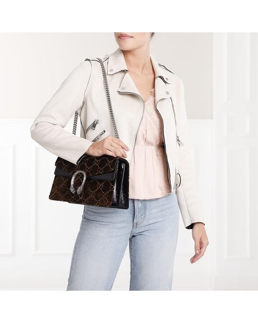 fefc2a159d0a48 Gucci Dionysus GG Velvet Small Shoulder Bag in Brown - Save 3% - Lyst