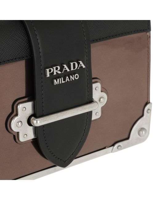 a10aaa9da465 ... Prada - Multicolor Cahier Shoulder Bag Metallic Leather Cammeo/nero -  Lyst ...