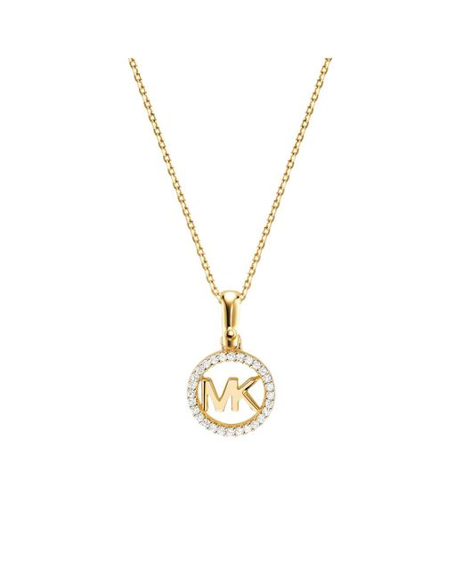Michael Kors - Metallic Mkc1108an710 Logo Charm Neck Gold - Lyst