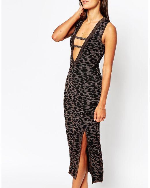 ASOS | Multicolor Midi Dress In Metallic Leopard Print With Plunge Neck | Lyst