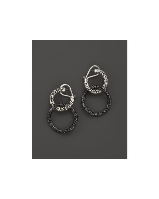 John Hardy | Metallic Women's Sterling Silver Classic Chain Lava Double Round Drop Earrings With Black Sapphires | Lyst