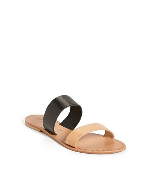 Joie | Black A La Plage 'sable' Leather Slip-on Sandal | Lyst