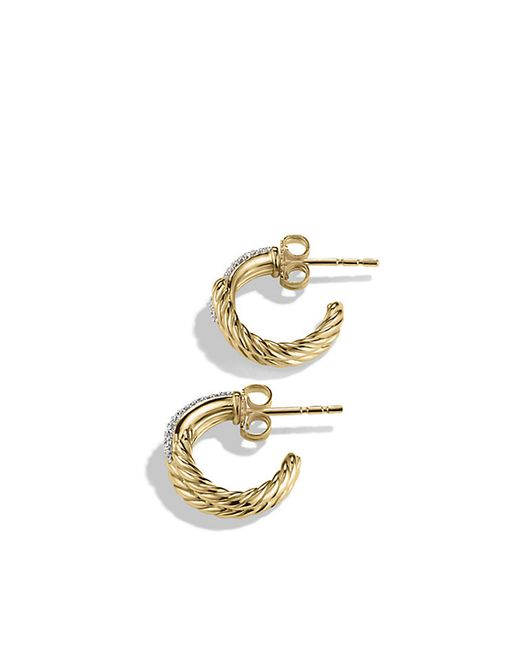 David Yurman | Metallic Labyrinth Huggie Earrings With Diamonds In 18k Gold | Lyst