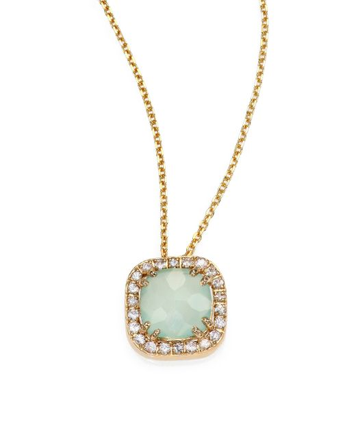 KALAN by Suzanne Kalan   Metallic Blue Chalcedony, White Sapphire & 14k Yellow Gold Mini Cushion Pendant Necklace   Lyst