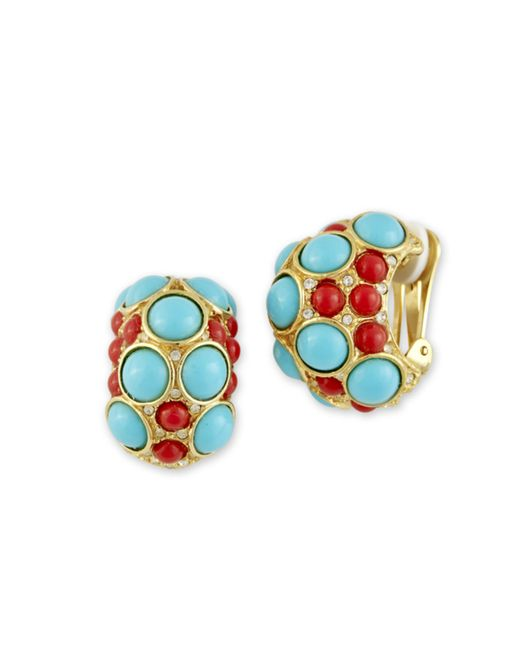 Kenneth Jay Lane | Multicolor Coral And Turquoise Clip Earring | Lyst