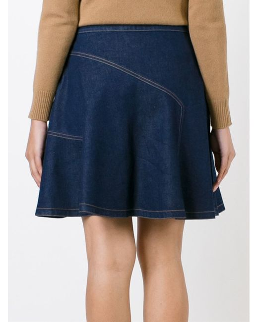 see by chlo 233 blue high waisted denim skirt lyst