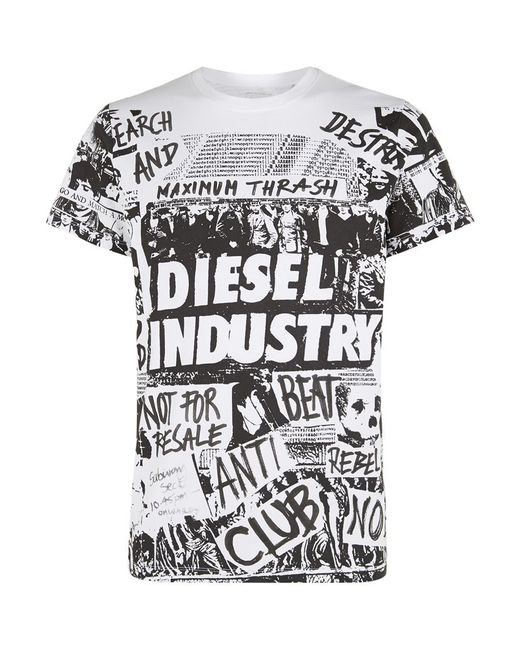 DIESEL | White Industry Graffiti T-shirt for Men | Lyst