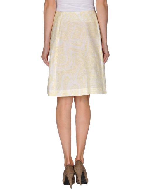 jil sander navy knee length skirt in yellow lyst