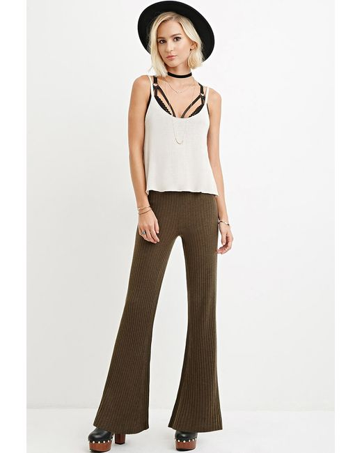 Forever 21 | Green Ribbed Flared Pants | Lyst