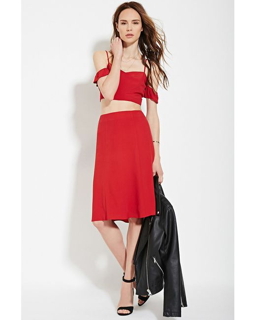 Forever 21 Contemporary A Line Skirt In Red Lyst