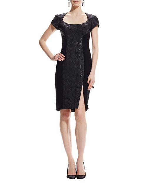 THEIA   Black Geometric Shift Dress   Lyst
