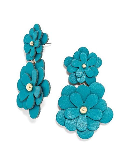 Zoe Leather Flower Drop Earrings In Blue Blue Gold Lyst