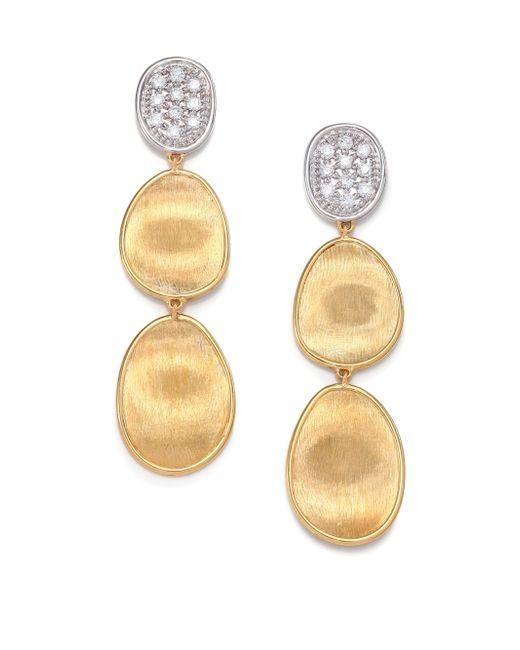 Marco Bicego | Metallic Lunaria Diamond & 18k Yellow Gold Triple-drop Earrings | Lyst