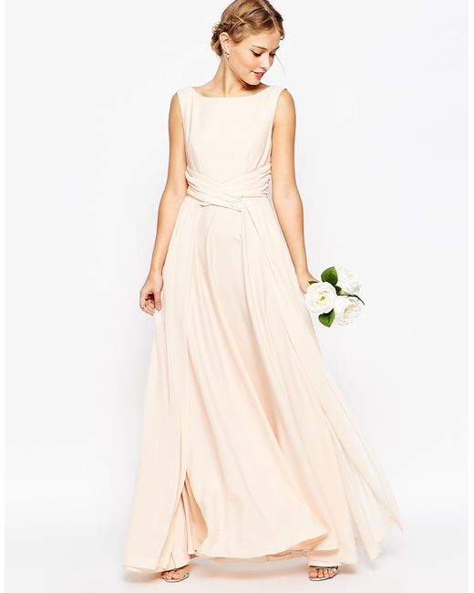 Asos Wedding Soft Maxi Prom Dress In Beige (Nude)