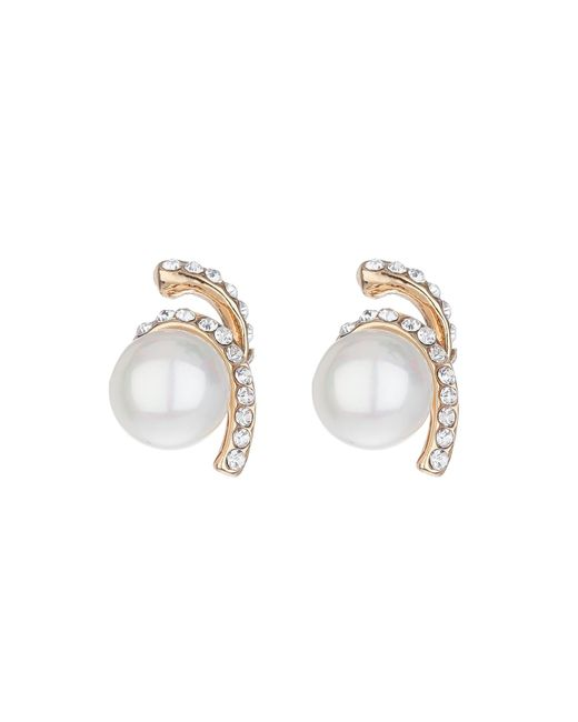 Mikey | White Twister Crystal Pearl Drop Earring | Lyst
