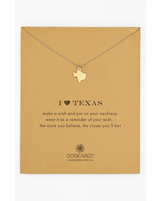 Dogeared | Metallic 'reminder - I Heart Texas' Pendant Necklace | Lyst