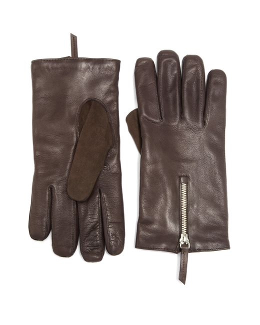 Want Les Essentiels De La Vie | Brown Mozart Leather & Suede Zip Gloves for Men | Lyst