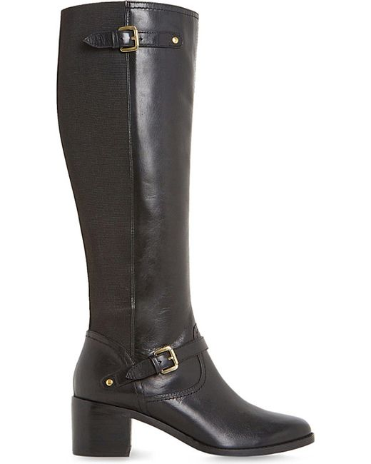 dune vivvi leather knee high boots in black lyst