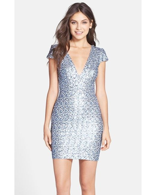 Dress the Population | Metallic 'zoe' Sequin V-neck Body-con Dress | Lyst