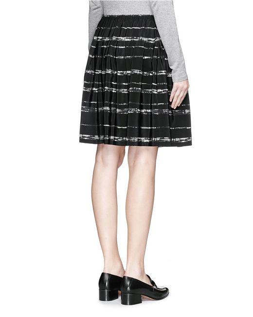 vince shadow stripe pleated silk skirt in black save 29