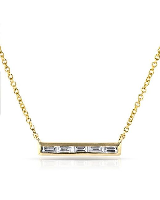 Anne Sisteron | Metallic 14kt Yellow Gold Baguette Diamond Short Bar Necklace | Lyst