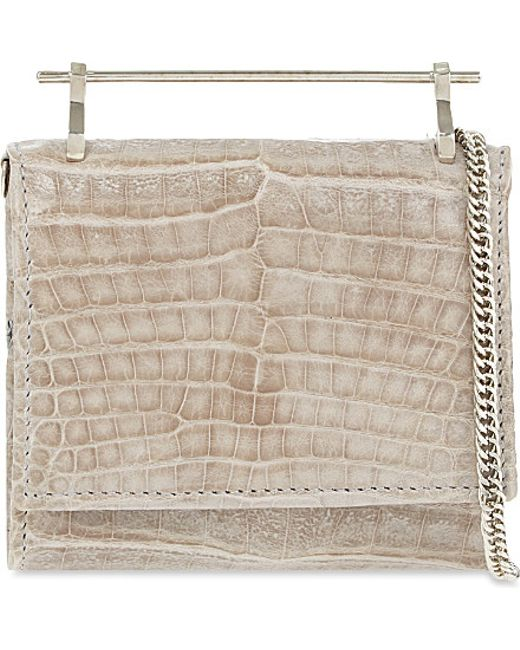 M2malletier | Gray Cabiria Python Leather Chain Purse, Women's, Light Grey Croc | Lyst