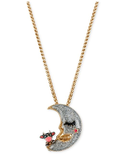 Betsey Johnson | Metallic Gold-tone Moon Pendant Necklace | Lyst