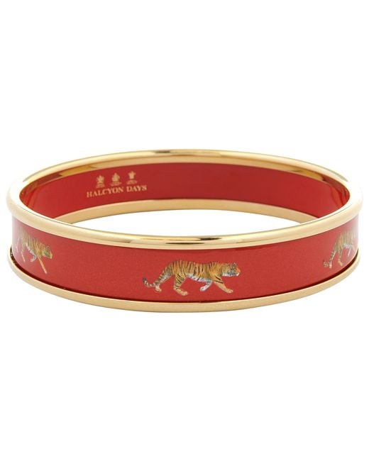 Halcyon Days | Red 18ct Gold Plated Enamel Tiger Motif Bangle | Lyst