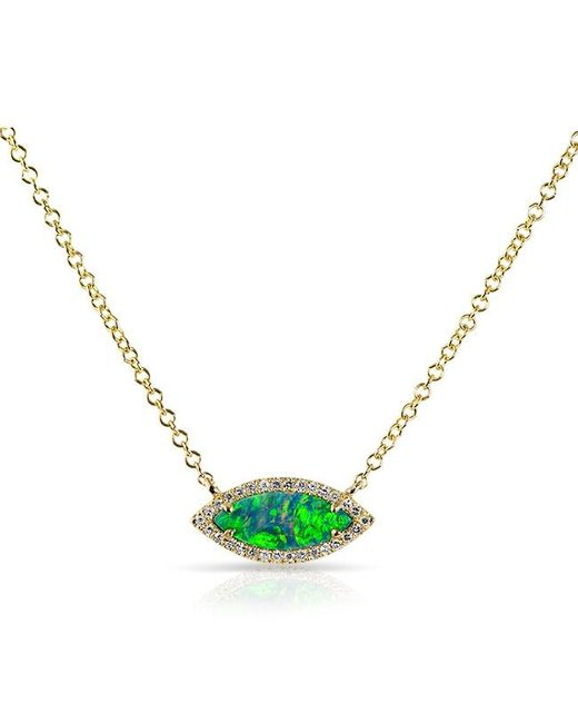 Anne Sisteron - Metallic 14kt Rose Gold Opal Diamond Mini Marquis Necklace - Lyst